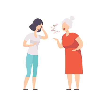 Femme âgée aux cheveux gris criant à la jeune femme frustrée, mère gronder son vecteur de fille adulte Illustration isolée sur fond blanc.