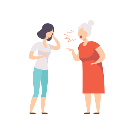 Elderly gray haired woman yelling at frustrated young woman, mother scolding her adult daughter vector Illustration isolated on a white background.