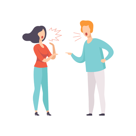 Angry young woman and man quarreling, family conflict, disagreement in relationship vector Illustration isolated on a white background.