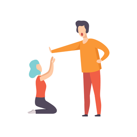 Young woman kneeling in front of angry man, couple quarreling, family conflict, disagreement in relationship vector Illustration isolated on a white background.