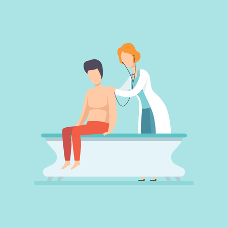 Female doctor examining male patient with stethoscope, medical treatment and healthcare concept vector Illustration in cartoon style Illustration