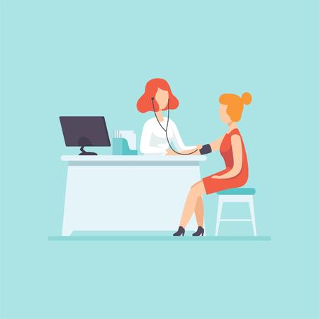 Dokter meten bloeddruk bij vrouwelijke patiënt, medische behandeling en gezondheidszorg concept vector illustratie in cartoon style