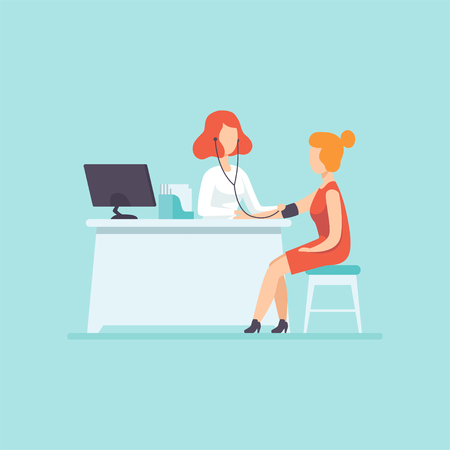 Doctor measuring blood pressure at female patient, medical treatment and healthcare concept vector Illustration in cartoon style