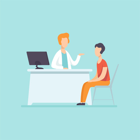 Male practitioner doctor advising patient in medical office, medical treatment and healthcare concept vector Illustration Çizim