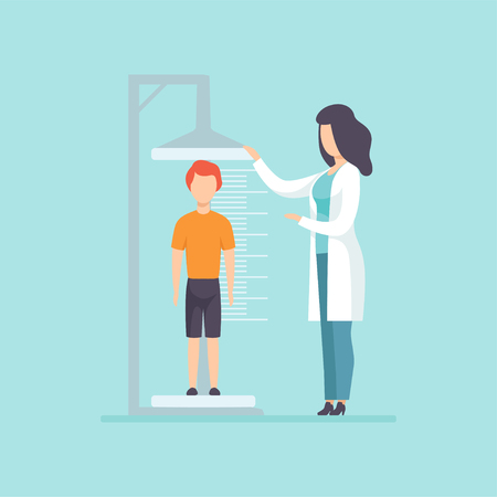 Pediatrician examining a boy in a medical office, doctor measuring the growth of a child, medical treatment and healthcare concept vector Illustration in cartoon style