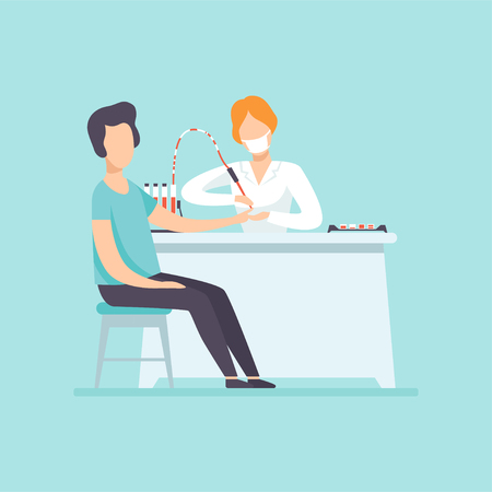Doctor taking blood test at male patient in medical office, medical treatment and healthcare concept vector Illustration in cartoon style