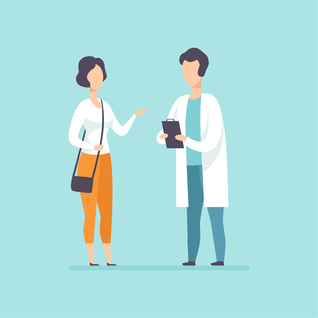 Practitioner doctor advising female patient in medical office, medical treatment and healthcare concept vector Illustration in cartoon style