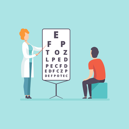 Ophthalmologist doctor doing eyesight test to male patient, medical treatment and healthcare concept vector Illustration in cartoon style
