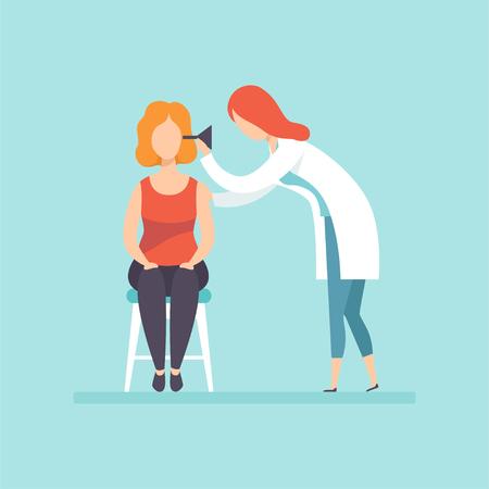 Médico otorrinolaringólogo examina a paciente en clínica, tratamiento médico y concepto de salud vector ilustración en estilo de dibujos animados