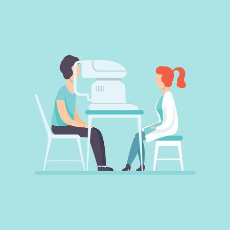 Medico oculista esaminando la vista del paziente con attrezzatura oftalmologica professionale, trattamento medico e concetto di assistenza sanitaria vettoriale illustrazione nello stile del fumetto