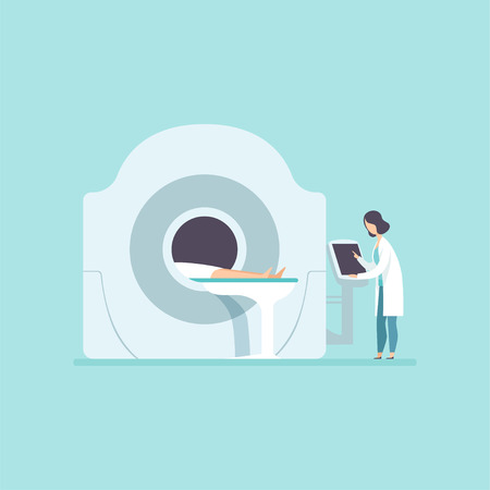 Doctor scanning patient with scanner machine, MRI scan and diagnostics concept vector Illustration in cartoon style