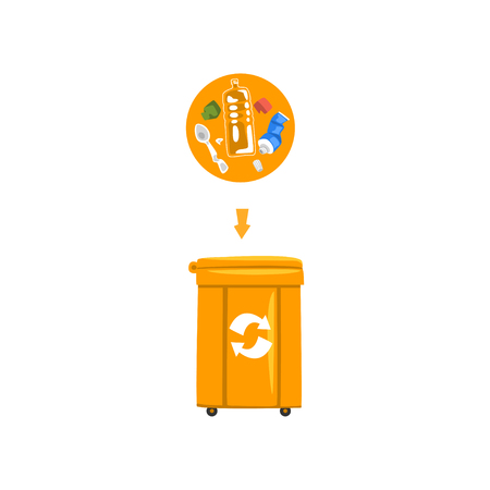 Orange trash garbage can with sorted garbage, recycling garbage industry vector Illustration