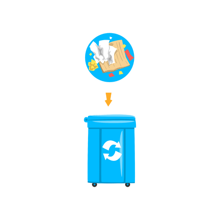 Blue trash garbage can with sorted garbage, recycling garbage industry vector Illustration