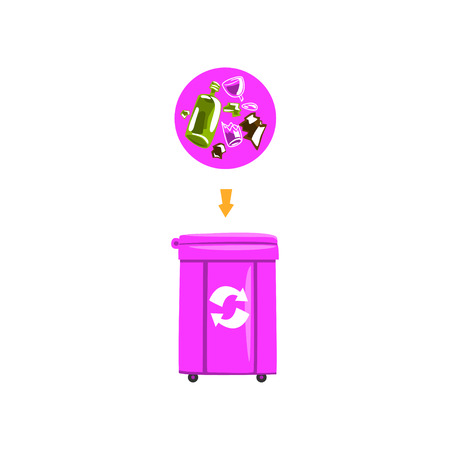 Trash garbage can with sorted garbage, recycling garbage industry vector Illustration Illustration