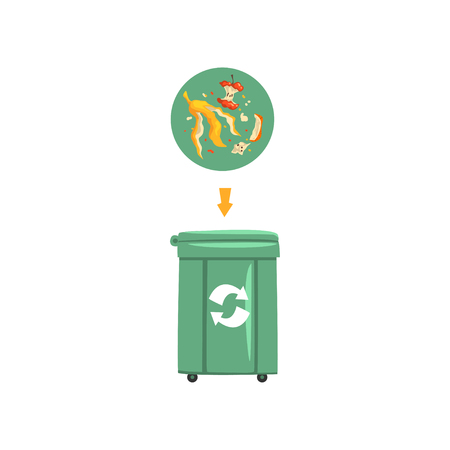 Green trash garbage can with sorted garbage, recycling garbage industry vector Illustration