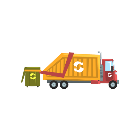 Garbage truck, waste recycling vector Illustration on a white background Çizim