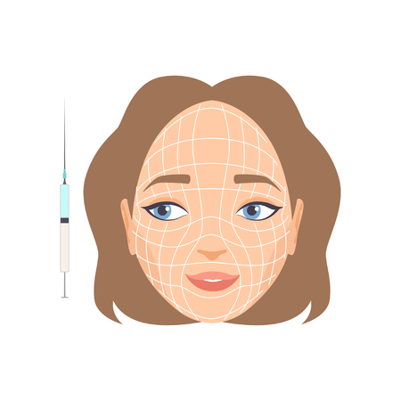 Young woman face with massage lines, girl having hyaluronic acid facial injection, rejuvenating procedure vector Illustration