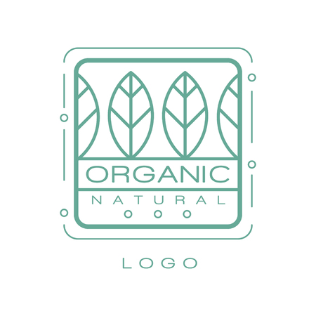Organic natural logo, eco badge for healthy products, natural cosmetics, premium quality food and drinks, packaging vector Illustration