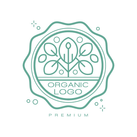 Organic logo premium, design element can be used for healthy products, natural cosmetics, premium quality food and drinks, packaging vector Illustration