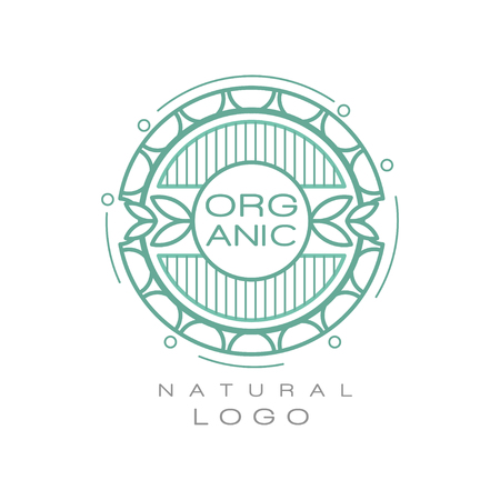 Organic natural logo design template, ecology sign for healthy products, natural cosmetics, premium quality food and drinks, packaging vector Illustration