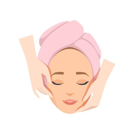 Giovane donna che ha massaggio anti invecchiamento, procedura facciale di bellezza, vettore di terapia termale illustrazione isolato su sfondo bianco.