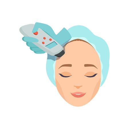 Mujer joven con procedimiento de cosmetología de máquina para rejuvenecimiento facial en salón de belleza, cosmetología y vector de concepto anti envejecimiento ilustración aislada sobre fondo blanco. Ilustración de vector