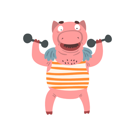 Funny male pig exercising with dumbbells, farm animal cartoon character doing sport exercise vector Illustration isolated on a white background.