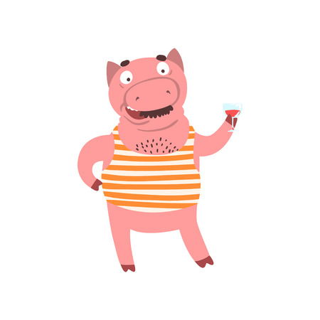 Funny male pig standing and holding glass of wine, farm animal cartoon character drinking wine vector Illustration isolated on a white background.