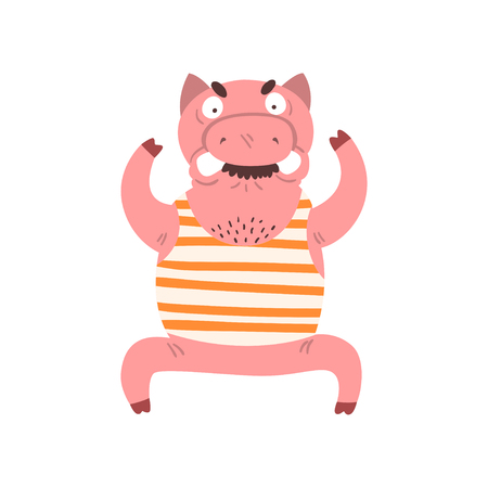 Funny angry male pig, farm animal cartoon character standing with arms raised vector Illustration isolated on a white background. Illustration