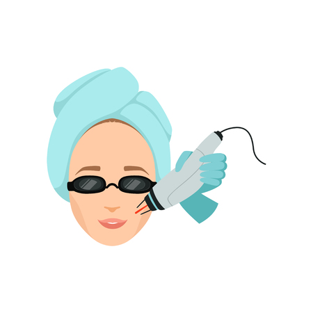 Young woman having laser facial hair removal procedure in beauty salon concept vector Illustration isolated on a white background.