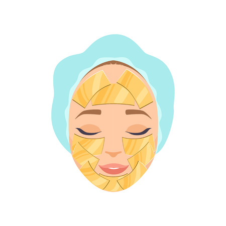 Beautiful woman with moisturizing mask on her face, cosmetic procedure for face rejuvenation vector Illustration isolated on a white background.
