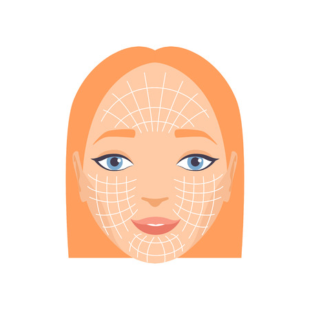 Young woman face with massage lines, rejuvenating procedure vector Illustration isolated on a white background. Banco de Imagens - 112379389