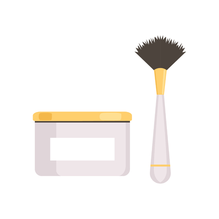 Cream jar package and brush vector Illustration isolated on a white background.