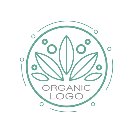 Organic logo, design element for organic healthy products, natural cosmetics, premium quality food and drinks, packaging vector Illustration on a white background Illusztráció