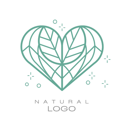 Natural logo, design element for organic healthy products, natural cosmetics, premium quality food and drinks, packaging vector Illustration on a white background