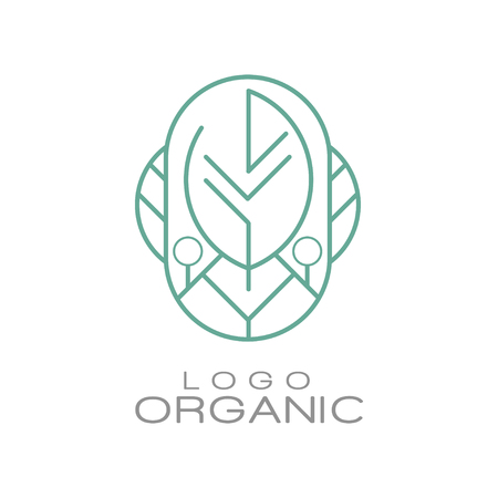 Logo organic, badge for eco healthy products, natural cosmetics, premium quality food and drinks, packaging vector Illustration Illusztráció