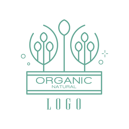 Organic natural logo, sign can be used for healthy products, natural cosmetics, premium quality food and drinks, packaging vector Illustration