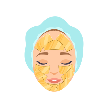 Beautiful woman with moisturizing mask on her face, cosmetic procedure for face rejuvenation vector Illustration