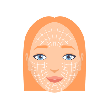 Young woman face with massage lines, rejuvenating procedure vector Illustration