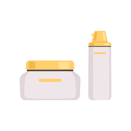 Skincare cosmetic packages with golden caps, face cosmetic, lotion, serum or cream bottles vector Illustration Banco de Imagens - 105673480