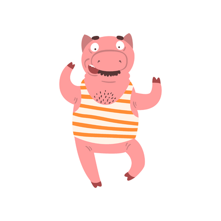 Funny male pig wearing striped singlet, farm animal cartoon character vector Illustration isolated on a white background.