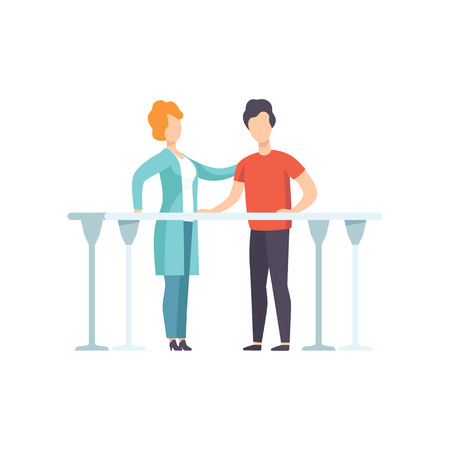 Therapist working with disabled patient using parallel bars, medical rehabilitation, physical therapy activity vector Illustration isolated on a white background.