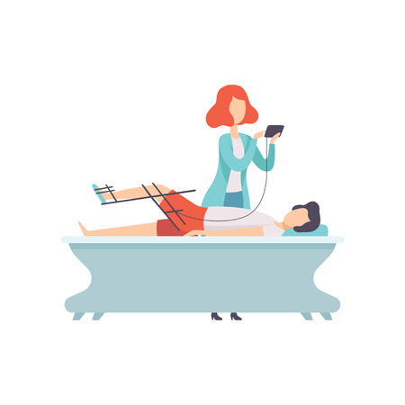 Therapist working with disabled patient and orthosis medical equipment, medical rehabilitation, physical therapy activity vector Illustration isolated on a white background. Stock Vector - 112379399