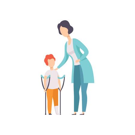 Terapeuta pracujący z małym chłopcem ze złamaniem nogi, powrót do zdrowia po urazie, rehabilitacja medyczna, fizykoterapia aktywność wektor ilustracja na białym tle.