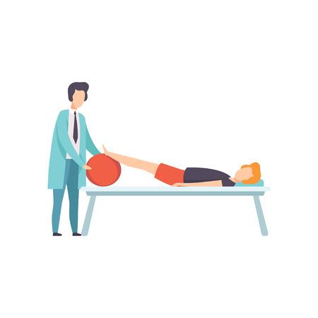 Thérapeute travaillant avec un patient handicapé allongé sur le canapé, réadaptation médicale, vecteur d'activité de physiothérapie Illustration isolée sur fond blanc.
