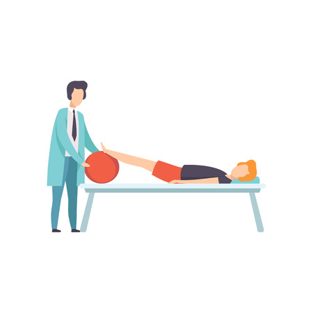 Therapist working with disabled patient lying on the couch, medical rehabilitation, physical therapy activity vector Illustration isolated on a white background.