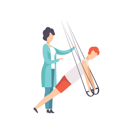 Man doet oefeningen met behulp van speciale touwen voor intensieve lichaamstraining, training, gezonde levensstijl en revalidatie cartoon vectorillustratie Vector Illustratie
