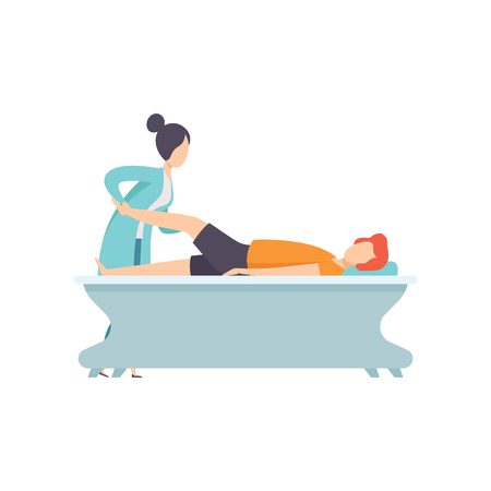 Man receiving leg physical therapy, medical rehabilitation, physical therapy activity vector Illustration isolated on a white background.