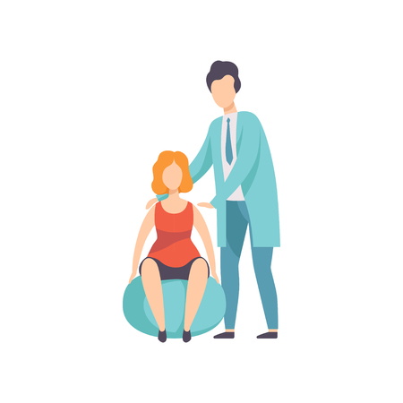 Therapist working with disabled woman and fitball, medical rehabilitation, physical therapy activity vector Illustration isolated on a white background.