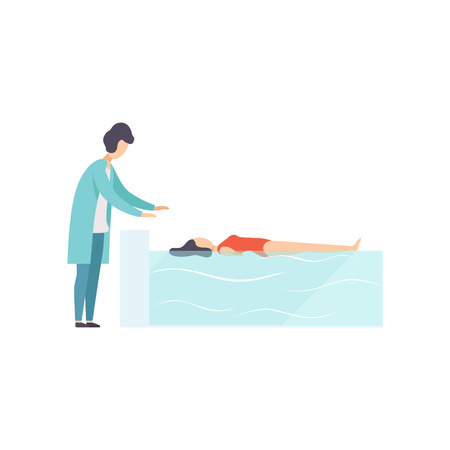 Therapist working with disabled female patient lying in swimming pool, medical rehabilitation, physical therapy activity vector Illustration isolated on a white background. Illustration
